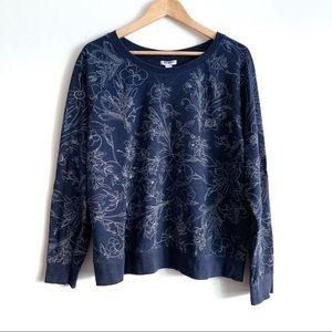 Old Navy Blue Floral Print Sweatshirt